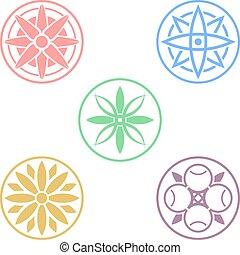colorare, simboli, fiori, cerchio