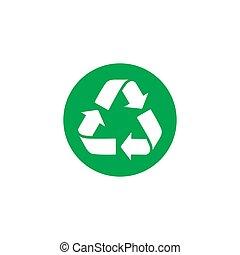 colorare, simbolo., vettore, riciclare, icon., icona