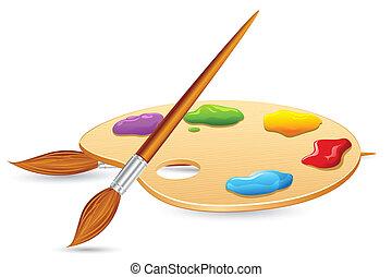 colorare, spazzola, e, colorare, pallet