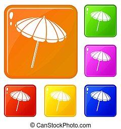 colorare, spiaggia, set, ombrello, icone