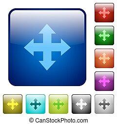 colorare, spostare, quadrato, bottoni