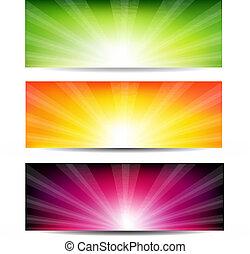 colorare, sunburst, astratto, set, bandiera