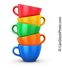 colorare, tazze caffè, mucchio