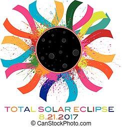 colorare, testo, eclissi, illustrazione, corona, solare,...
