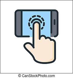 colorare, touchscreen, tecnologia, icona