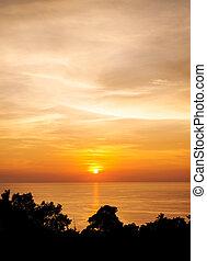 colorare, tramonto, silhouette