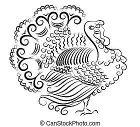 colorare, turkey.vector, ringraziamento, giorno