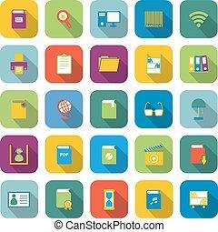 colorare, uggia, biblioteca, lungo, icone