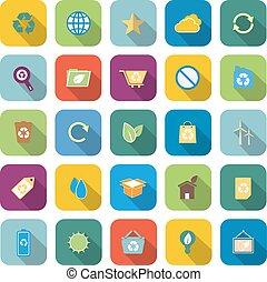 colorare, uggia, ecologia, lungo, icone
