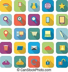 colorare, uggia, internet, lungo, icone