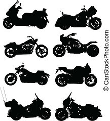 colorare, uno, illustrazioni, vettore, otto, vector., motorcycle., scatto, cambiamento