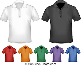 colorare, uomini, polo, nero, t-shirts., template., vettore...