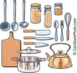 colorare, utensili, schizzo, stile, cucina