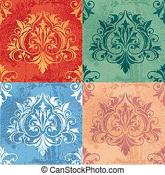 colorare, variazioni, di, classico, decorazione, elementi