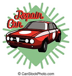 colorare, vendemmia, emblema, riparazione automobile
