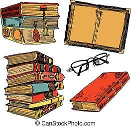 colorare, vendemmia, schizzo, libri