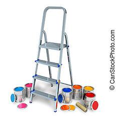 colorare, vernice, scala libro, lattine