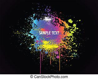 colorare, vernice, vettore, splashes., fondo