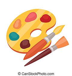 colorare, vernici, tavolozza, arte, brushes.