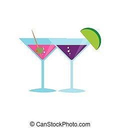 colorare, vetro, fondo, cocktail