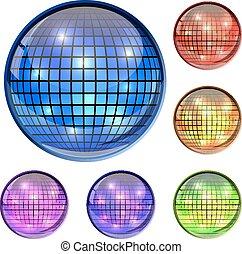 colorare, vetro, palla discoteca, 3d, vettore, icone, isolato, bianco, fondo.