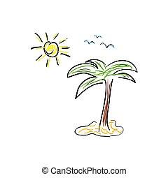 colorare, vettore, palma, cartone animato, icona