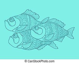 colorare, vettore, piranha, disegno, illustrazione