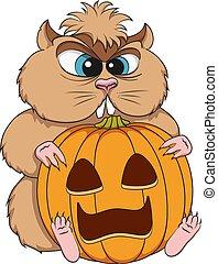colorare, vettore, sedere, pumpkin., object., criceto, arrabbiato, isolato