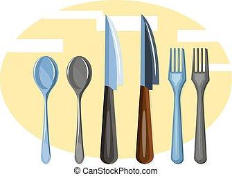 colorare, vettore, set, coltelleria, illustration.