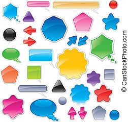 colorare, web, elementi, collezione