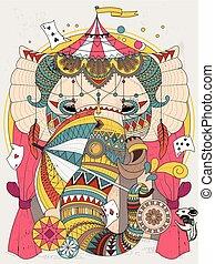 coloration, éléphant, adulte, page