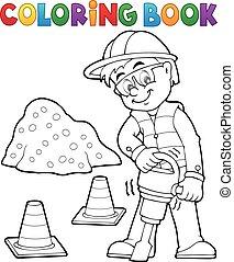 coloration, 3, ouvrier construction, livre