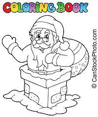 coloration, 7, claus, thème, livre, santa