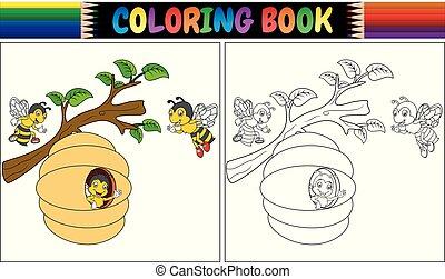 coloration, abeilles, livre, dessin animé