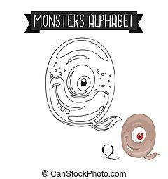 coloration, alphabet, page, q, lettre, monstres