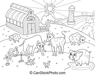 coloration, animaux, adultes, ferme, vecteur, paysage rural