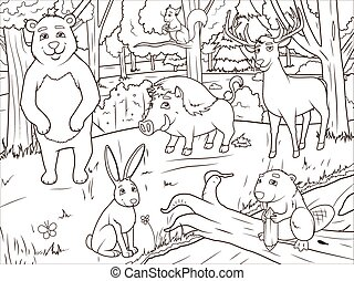 coloration, animaux, dessin animé, vecteur, forêt, livre