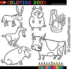 coloration, animaux, ferme, ou, livre, page