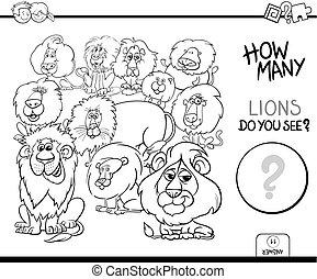 coloration, animaux, jeu, livre, lions, dénombrement