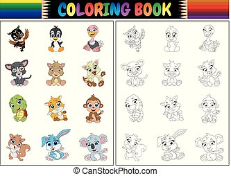 coloration, animaux, livre, collection, dessin animé