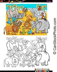 coloration, animaux, livre, safari