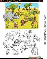 coloration, animaux, page, safari