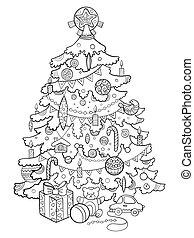 coloration, arbre, noël, vecteur, dessin animé, livre