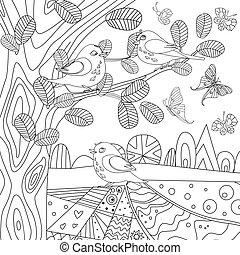 coloration, arbres, oiseaux, rustique, livre, joli, ton, paysage