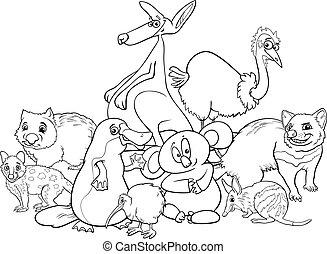 coloration, australien, livre, animaux, dessin animé