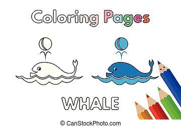 coloration, baleine, livre, dessin animé