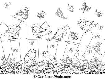 coloration, barrière, séance, oiseaux, rustique, livre, ton, paysage, heureux