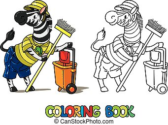 coloration, book., gardien, animal, zebra, alphabet, z