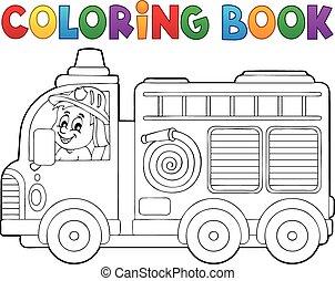 coloration, brûler, thème, 2, camion, livre