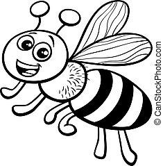 coloration, caractère, abeille, miel, livre, dessin animé